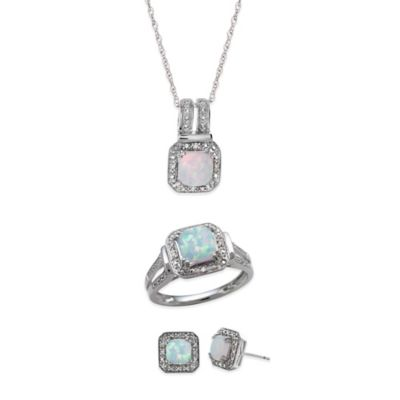 Sterling Silver Diamond Accent and Created Fiery Opal Size 7 Jewelry Set