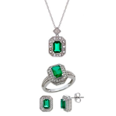 Sterling Silver Created Emerald and Created White Sapphire Size 6 Jewelry Set