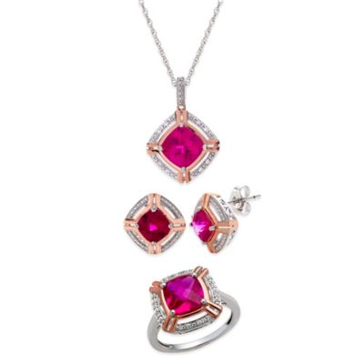Sterling Silver/14K Rose Gold Created Ruby/Created White Sapphire Size 8 Jewelry Set
