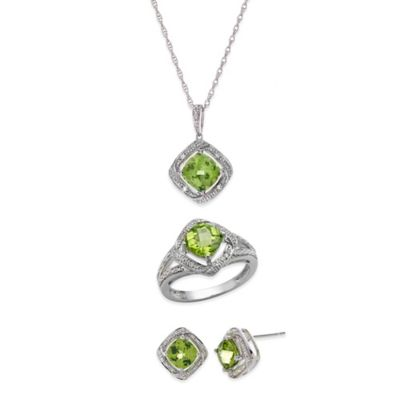 Sterling Silver Peridot and Created White Sapphire Framed Size 6 Jewelry Set