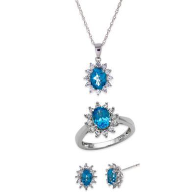 Sterling Silver Blue Topaz and Created White Sapphire Size 6 Jewelry Set