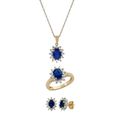 14K Gold-Plated Sterling Silver Created Blue/White Sapphire Size 6 Jewelry Set