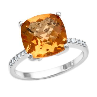 Sterling Silver 4.0 cttw Created Cushion-Cut Citrine and Created White Sapphire Size 6 Ladies' Ring