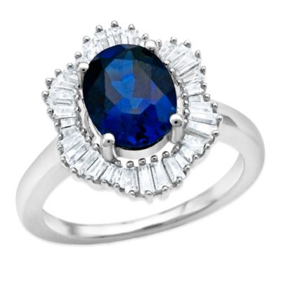 Sterling Silver 2.4 cttw Created Blue and White Sapphire Baguette Size 7 Ladies' Frame Ring