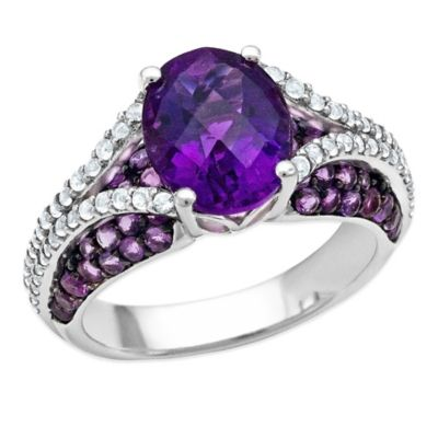Sterling Silver Oval-Cut Amethyst and White Topaz Size 7 Ladies' Split Shank Ring
