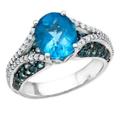 Sterling Silver Oval-Cut Blue and White Topaz Size 6 Ladies' Split Shank Ring
