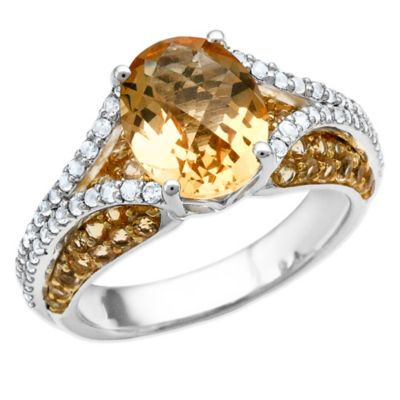 Sterling Silver Oval-Cut Citrine and White Topaz Size 6 Ladies' Split Shank Ring