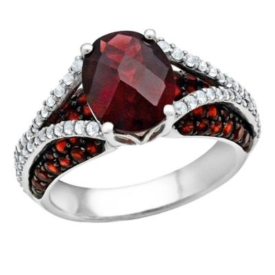 Sterling Silver Oval-Cut Garnet and White Topaz Size 6 Ladies' Split Shank Ring
