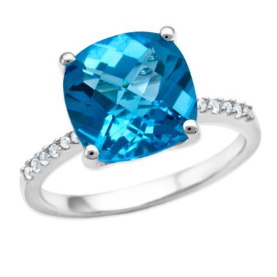 Sterling Silver Cushion-Cut Blue Topaz and Lab-Created White Sapphire Size 8 Ladies' Fashion Ring