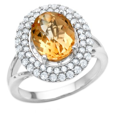 Sterling Silver Oval-Cut Citrine and Created White Sapphire Size 6 Ladies' Double-Frame Ring