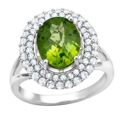 Sterling Silver Oval-Cut Peridot and Created White Sapphire Size 8 Ladies' Double Frame Ring