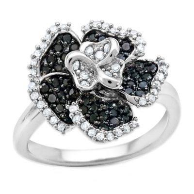 Sterling Silver .49 cttw Black and White Diamond Size 7 Ladies' Flower Ring