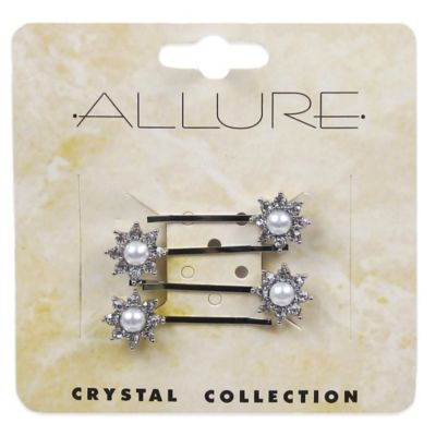 Allure Crystal Collection 4-Pack Faux Pearl Bobby Pins