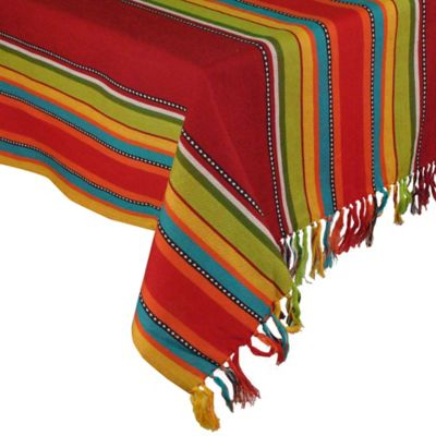 La Cocina Caliente Stripe Fringed 60-Inch x 84-Inch Oblong Tablecloth
