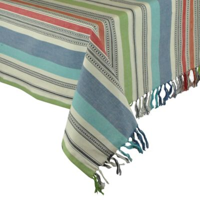 Mediterranean Stripe 52-Inch x 52-Inch Square Tablecloth