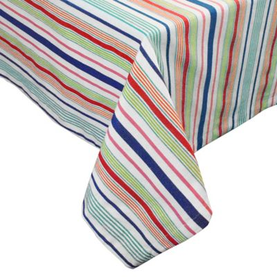 Summer Days Surfboard Stripe 52-Inch x 52-Inch Square Tablecloth