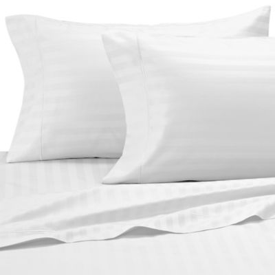 Damask Stripe 500-Thread-Count Egyptian Cotton Full Sheet Set in White