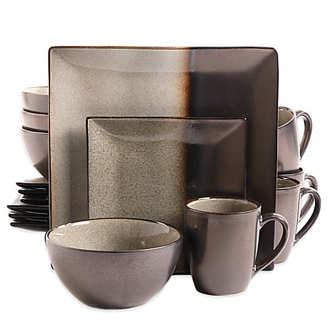 Gibson Kaidence 16 Piece Dinnerware Set In Brown Bed