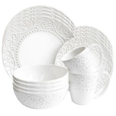 Bianca Scrolls 16-Piece Round Dinnerware Set in White