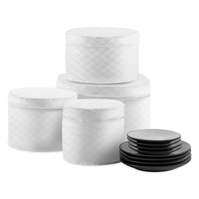 SALT Quilted 4-Piece Plate Case Set in White