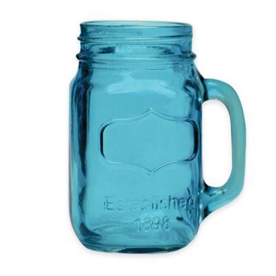Yorkshire Glass Mason Jar Mugs in Aqua (Set of 4)