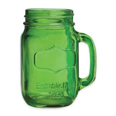 Yorkshire Glass Mason Jar Mugs in Lime (Set of 4)