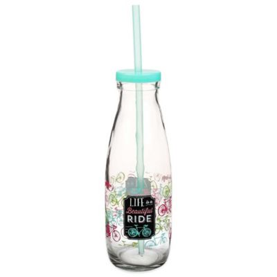 """Life is a Beautiful Ride"" Milk Bottle with Lid and Straw"