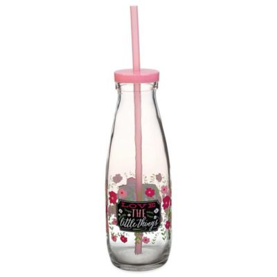 """Love the Little Things"" Milk Bottle with Lid and Straw"