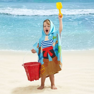 Kids' Pirate Velour Hooded Towel in Blue/Red