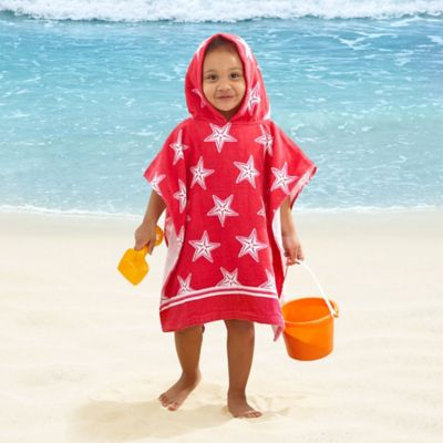 Kids' Starfish Velour Hooded Towel in Pink/White