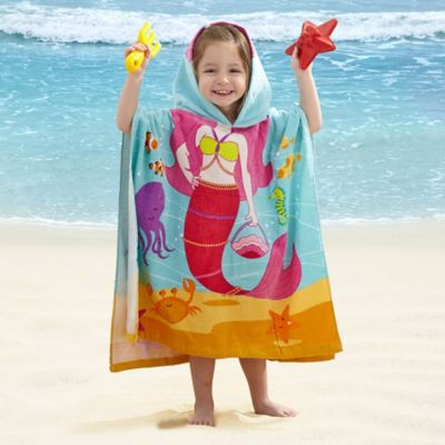 Kids' Mermaid Velour Hooded Towel in Pink/Blue
