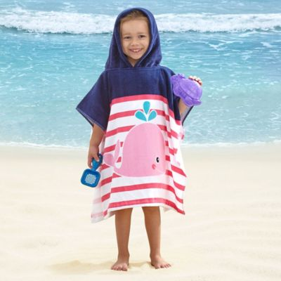 Kids' Whale Velour Hooded Towel in Pink/Purple