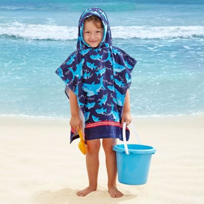 Kids' Shark Velour Hooded Towel in Light Blue/Navy