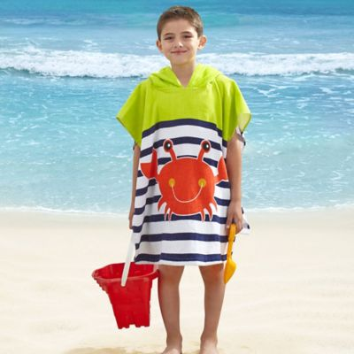 Kids' Crab Velour Hooded Towel in Red/Navy