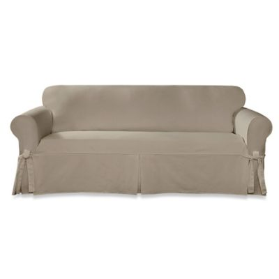 Sure Fit® Designer Twill Sofa Slipcover in Linen