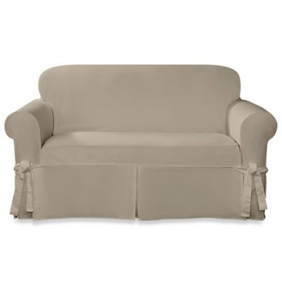 Sure Fit® Designer Twill Loveseat Slipcover in Linen