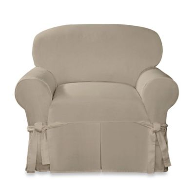 Sure Fit® Designer Twill Chair Slipcover in Linen