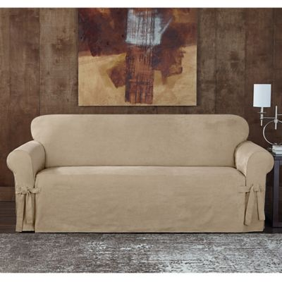 Sure Fit® Designer Sueded Twill Sofa Slipcover in Taupe