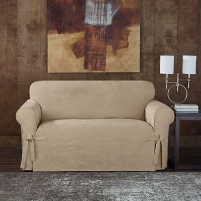 Sure Fit® Designer Sueded Twill Loveseat Slipcover in Chocolate