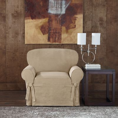 Sure Fit® Designer Twill Chair Slipcover in Chocolate