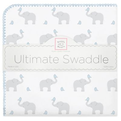Swaddle Designs® Elephant & Chicks Ultimate Receiving Blanket in Blue