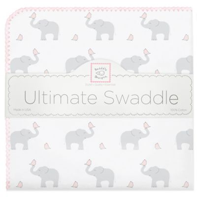 Swaddle Designs® Elephant & Chicks Ultimate Receiving Blanket in Pink