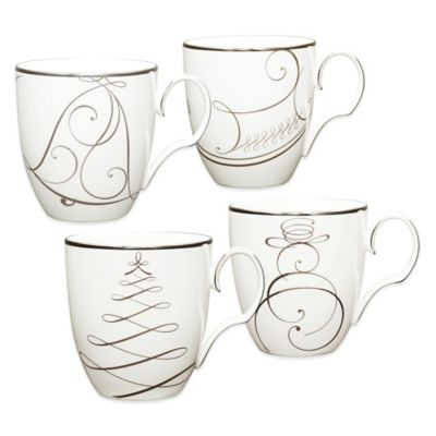 Noritake® Platinum Wave Snowman/Bell/Tree/Sleigh Holiday Mugs (Set of 4)