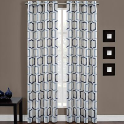 Portinari Grommet Top 84-Inch Window Curtain Panel in Charcoal