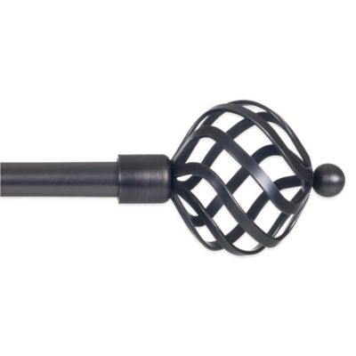 48-Inch - 86-Inch Adjustable Curtain Rod with Twisted Sphere Finials in Pewter