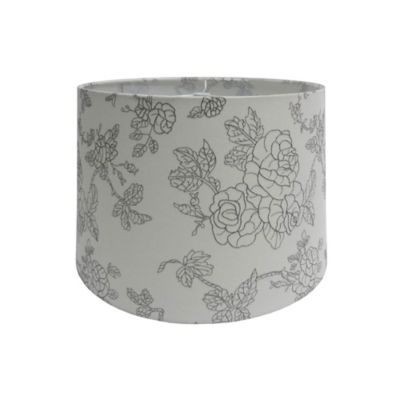 10-Inch Flower Embroidered Hardback Drum Lamp Shade in Off-White