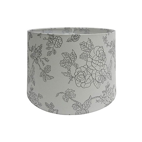 10 inch flower embroidered hardback drum lamp shade in off. Black Bedroom Furniture Sets. Home Design Ideas