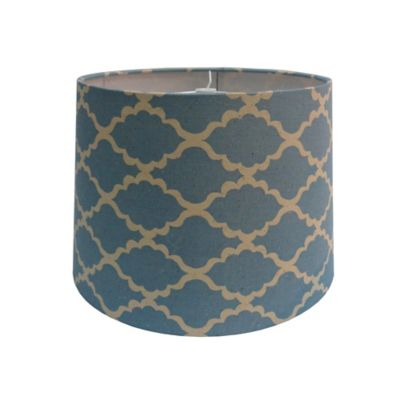 9-Inch Linen Lattice Patterned Hardback Drum Lamp Shade in Blue