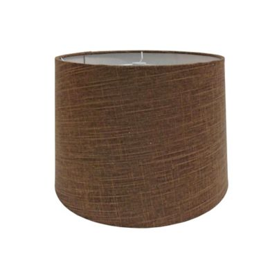 9-Inch Linen Metallic Hardback Drum Lamp Shade in Brown