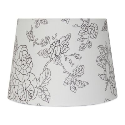 Flower Embroidered Hardback Drum Lamp Shade